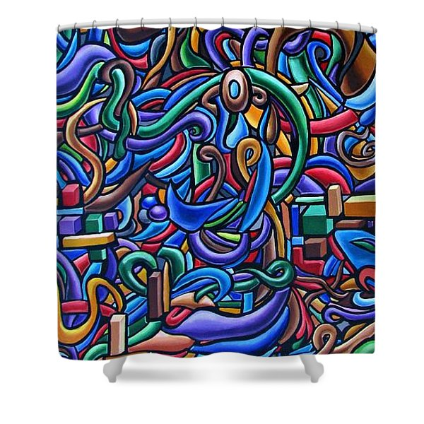 Colorful Abstract Art Abstract Painting Colorful Chromatic Acrylic Painting Shower Curtain