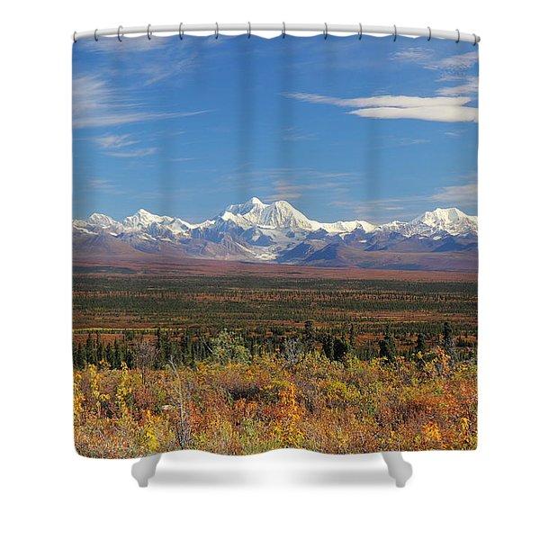 The Alaska Range From The Denali Highway Shower Curtain