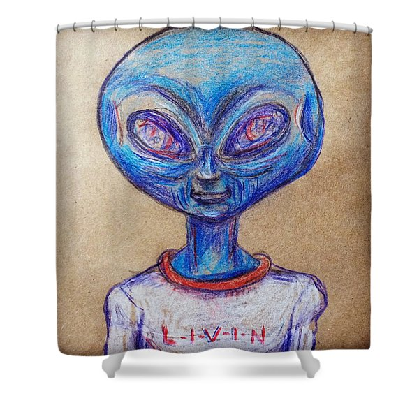 The Alien Is L-i-v-i-n Shower Curtain