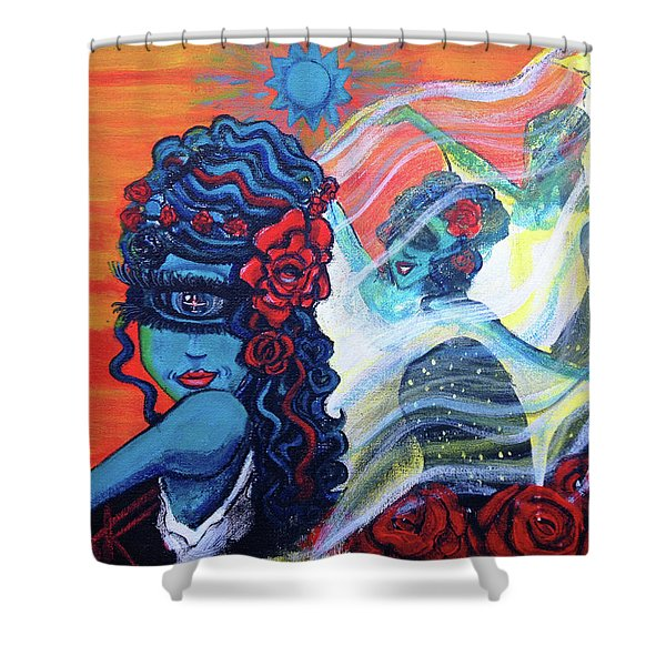 The Alien Scarlet Begonias Shower Curtain
