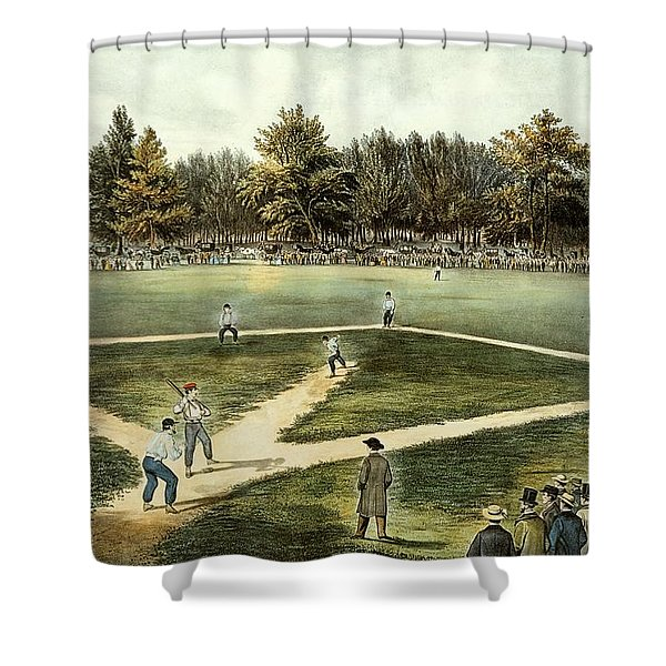 The American National Game Of Baseball Grand Match At Elysian Fields Shower Curtain