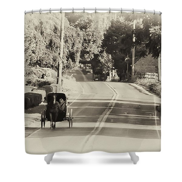The Amish Buggy Shower Curtain by Bill Cannon
