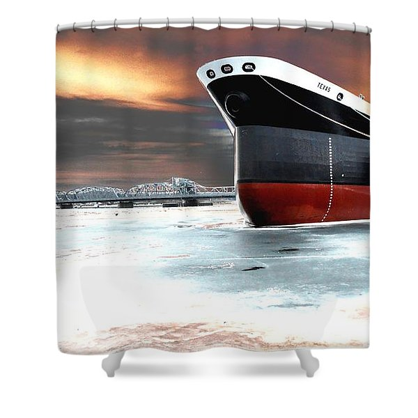 The Ship And The Steel Bridge. Shower Curtain