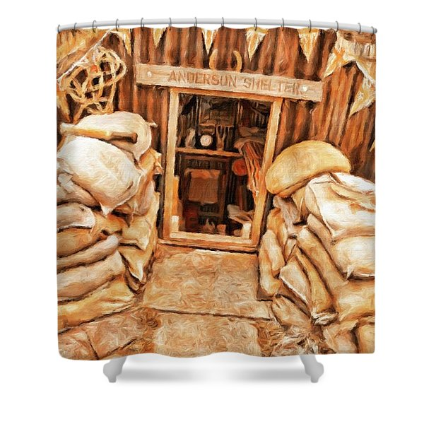 The Anderson Shelter By Sarah Kirk Shower Curtain