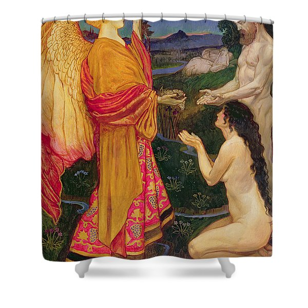 The Angel Offering The Fruits Of The Garden Of Eden To Adam And Eve Shower Curtain