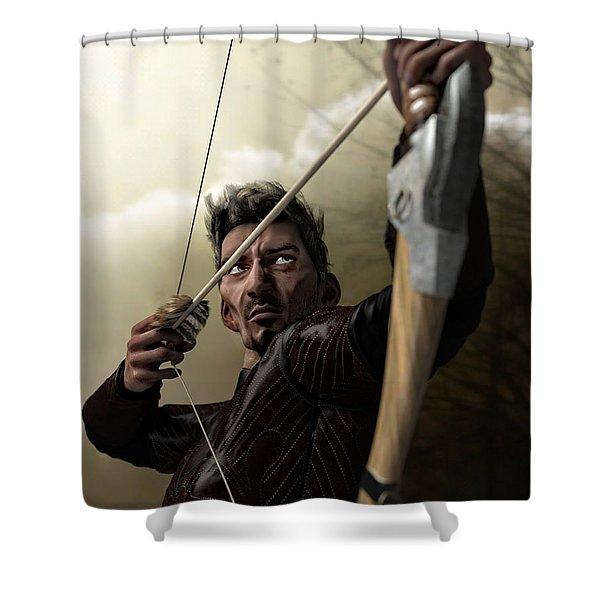 Shower Curtain featuring the digital art The Archer by Sandra Bauser Digital Art