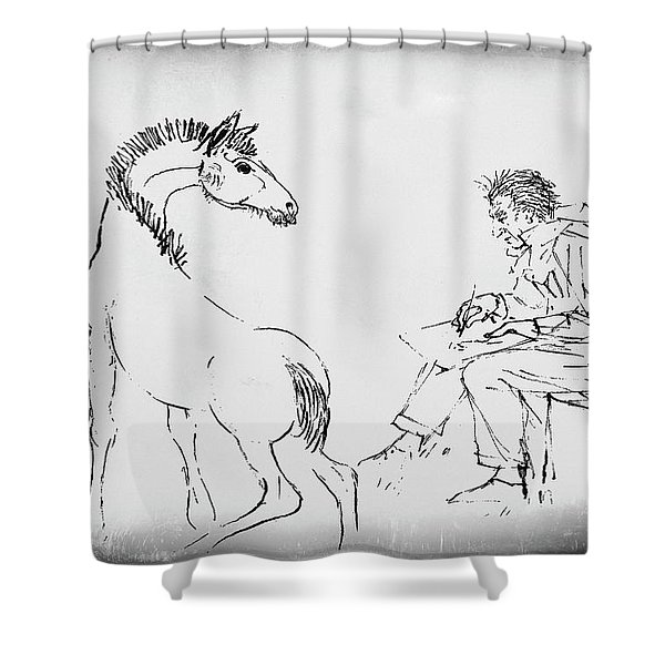 Shower Curtain featuring the drawing The Artist by Gerlinde Keating - Galleria GK Keating Associates Inc