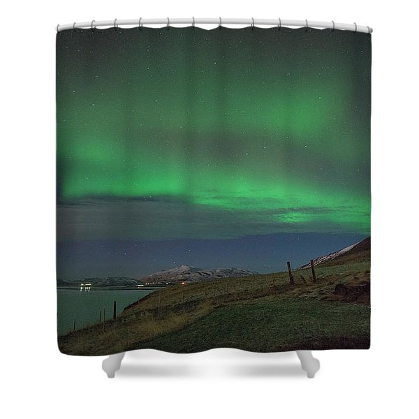 The Aurora Borealis Over Iceland Shower Curtain
