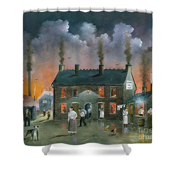 Shower Curtain featuring the painting The Backyard by Ken Wood