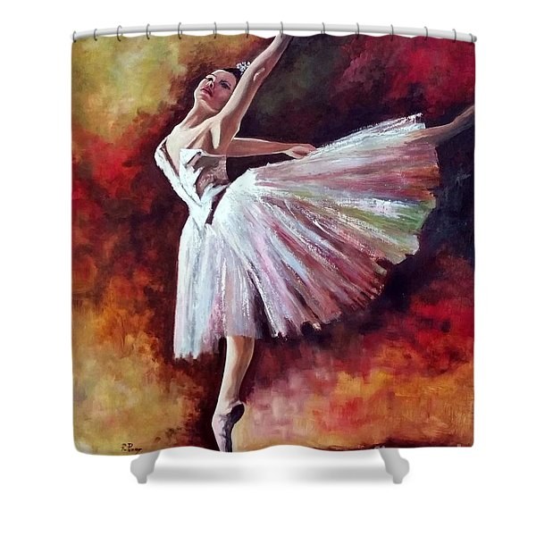Shower Curtain featuring the painting The Dancer Tilting - Adaptation Of Degas Artwork by Rosario Piazza