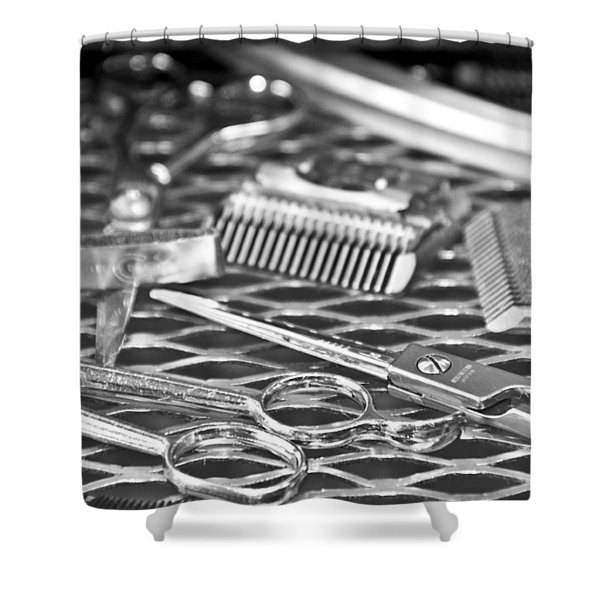 The Barber Shop 10 Bw Shower Curtain