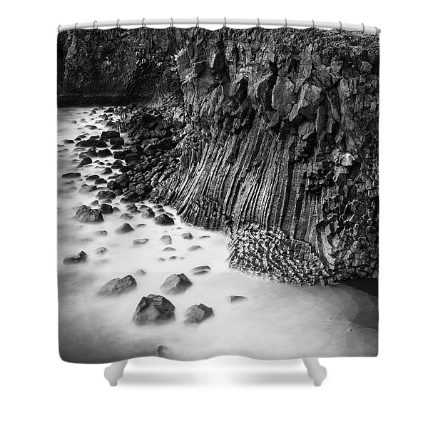 The Basalt Cliff Of Arnarstapi Shower Curtain