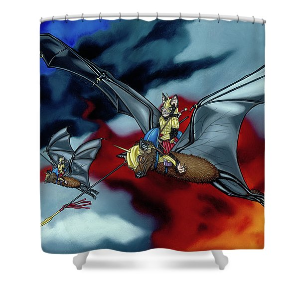 The Bat Riders Shower Curtain