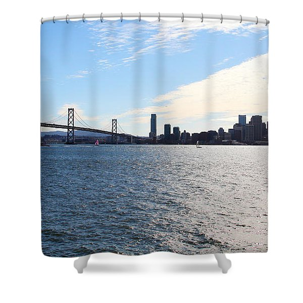 The Bay Bridge and The San Francisco Skyline Viewed From Treasure Island . 7D7771 Shower Curtain by Wingsdomain Art and Photography
