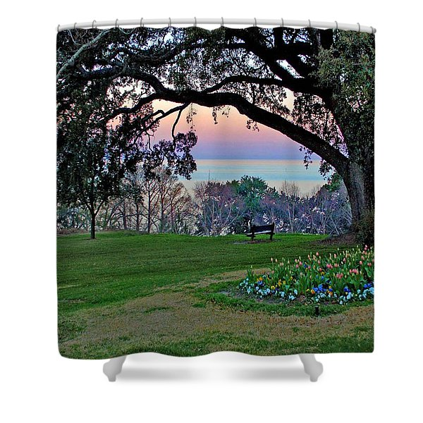 The Bay View Bench Shower Curtain