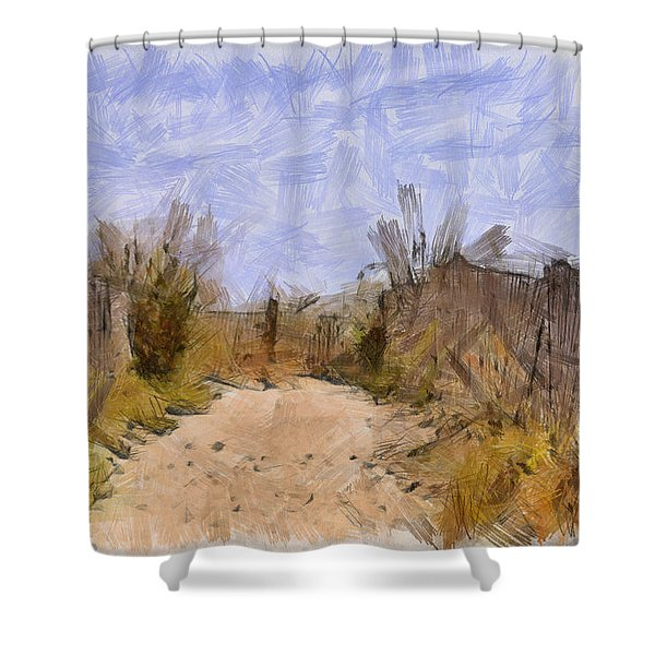 The Beach Awaits Shower Curtain