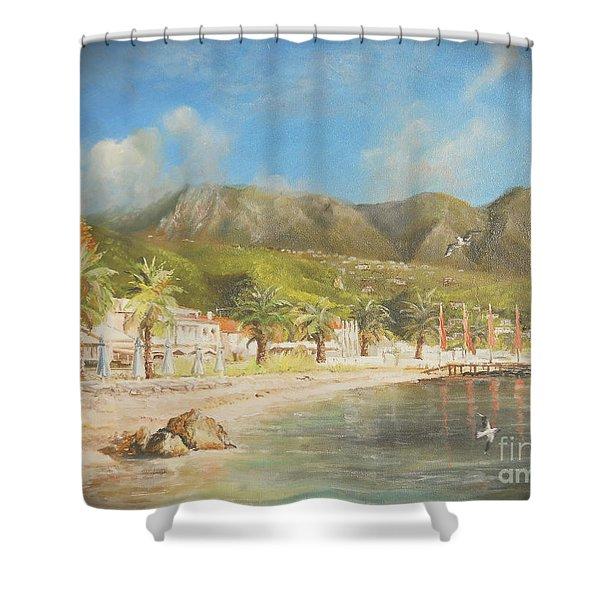 The Beach Of Ipsos Shower Curtain