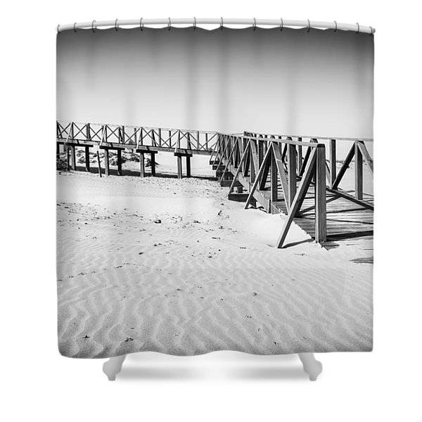 The Beach Walkway. Shower Curtain