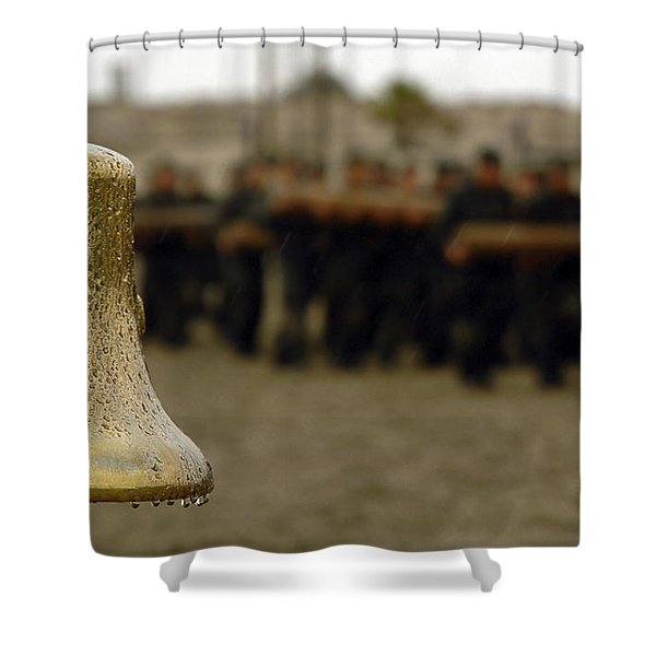 The Bell Is Present On The Beach Shower Curtain by Stocktrek Images