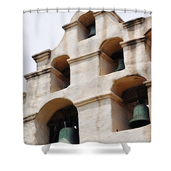 The Bells Of Mission San Gabriel Arcangel Portrait Shower Curtain