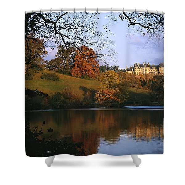 The Biltmore Estate Is Reflected Shower Curtain