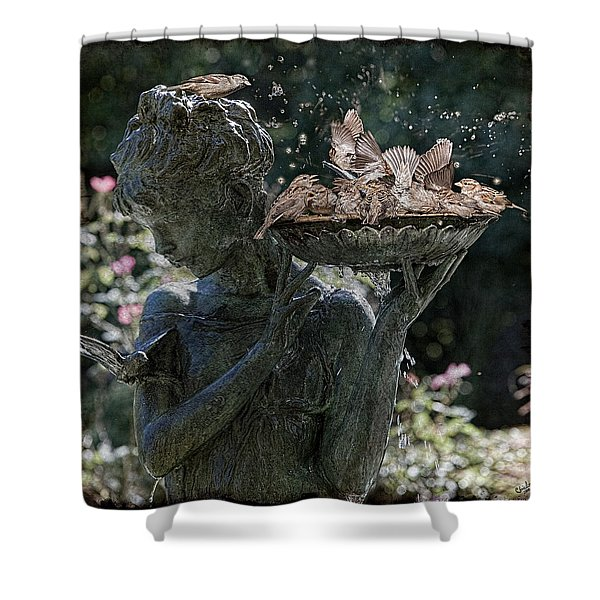 The Bird Bath Shower Curtain