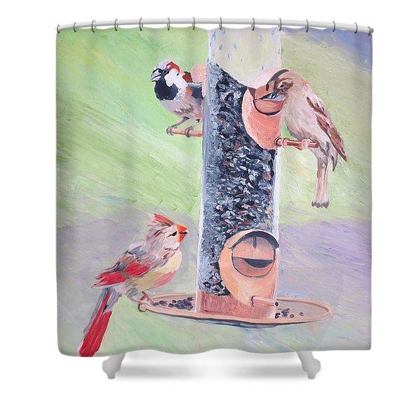 The Bird Feeder Shower Curtain