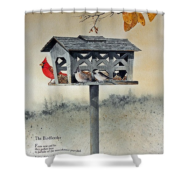 The Birdfeeder Shower Curtain