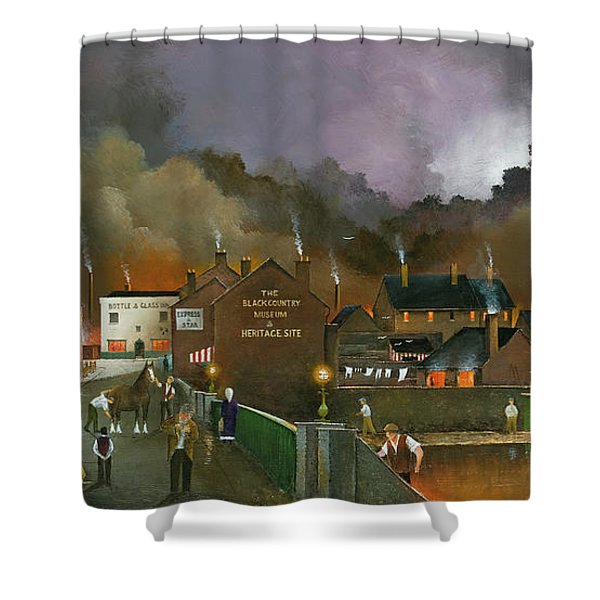 Shower Curtain featuring the painting The Black Country Museum 2 by Ken Wood
