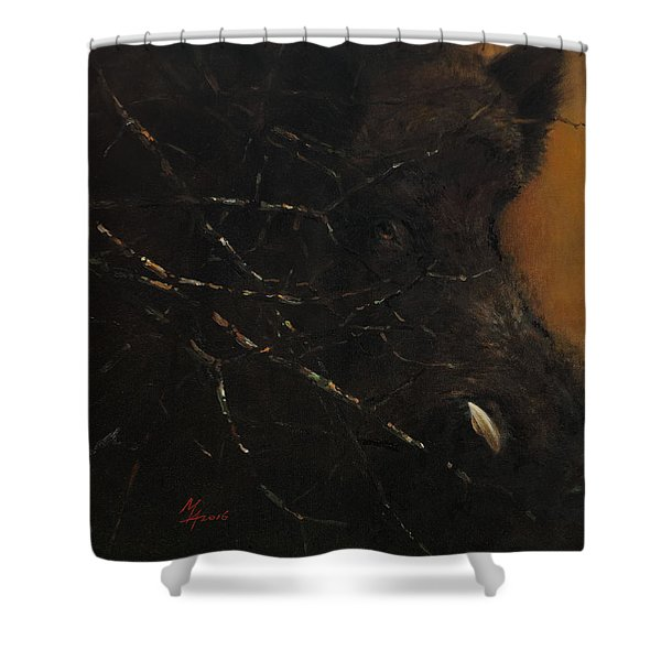 The Black Wildboar Shower Curtain