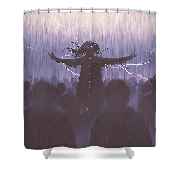 Shower Curtain featuring the painting The Black Wizard by Tithi Luadthong