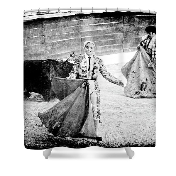 The Blond, The Bull And The Coup De Gras Bullfight Shower Curtain
