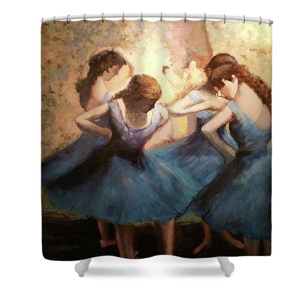 The Blue Ballerinas - A Edgar Degas Artwork Adaptation Shower Curtain