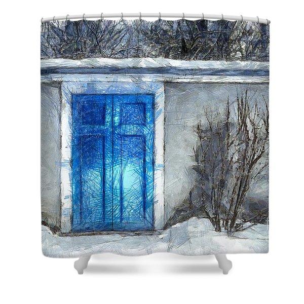 The Blue Door Beckons Pencil Shower Curtain