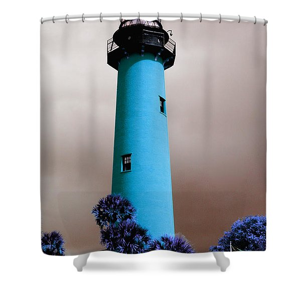 The Blue Lighthouse Shower Curtain