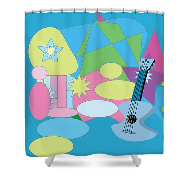 Shower Curtain featuring the digital art The Blues by Eleni Mac Synodinos