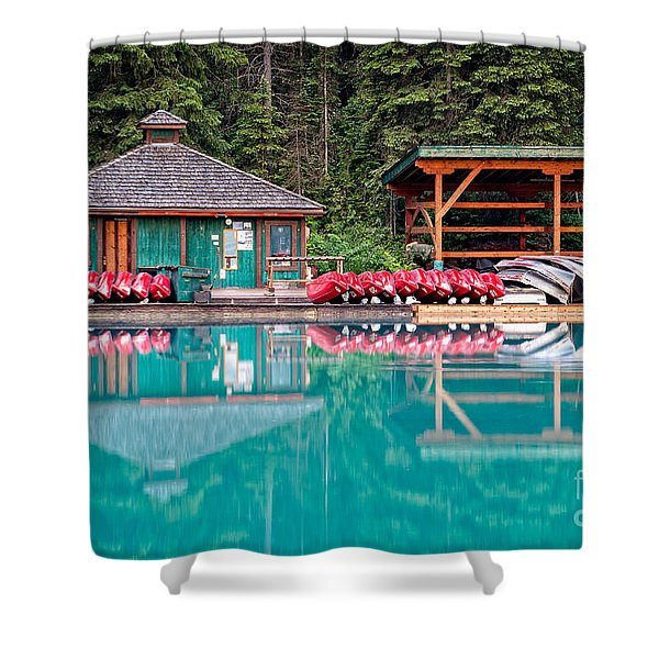 Shower Curtain featuring the photograph The Boat House At Emerald Lake In Yoho National Park by Bryan Mullennix