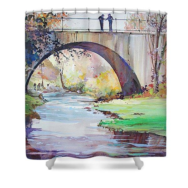 The Bridge Over Brewster Garden Shower Curtain
