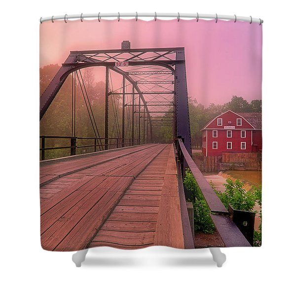 The Bridge To War Eagle Mill - Arkansas - Historic - Sunrise Shower Curtain