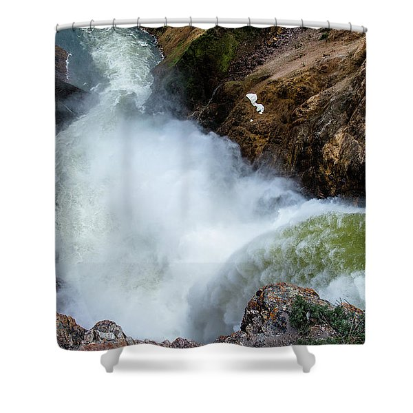 The Brink Of The Lower Falls Of The Yellowstone River Shower Curtain