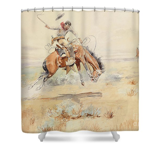 The Bronco Buster Shower Curtain