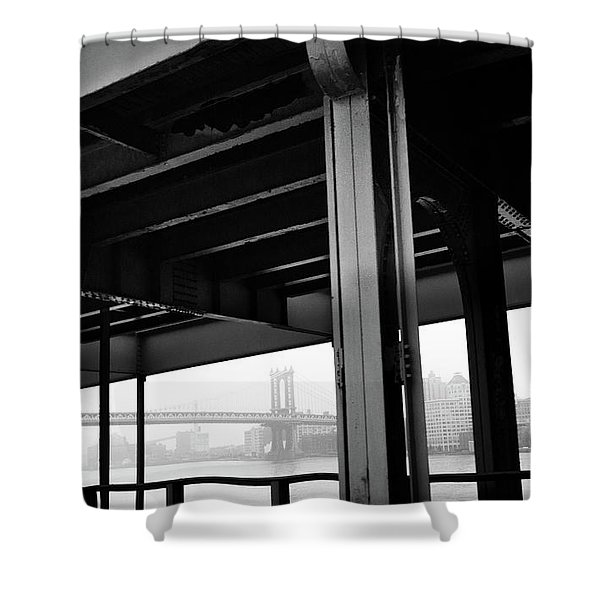 The Brooklyng Bridge And Manhattan Bridge From Fdr Drive Shower Curtain