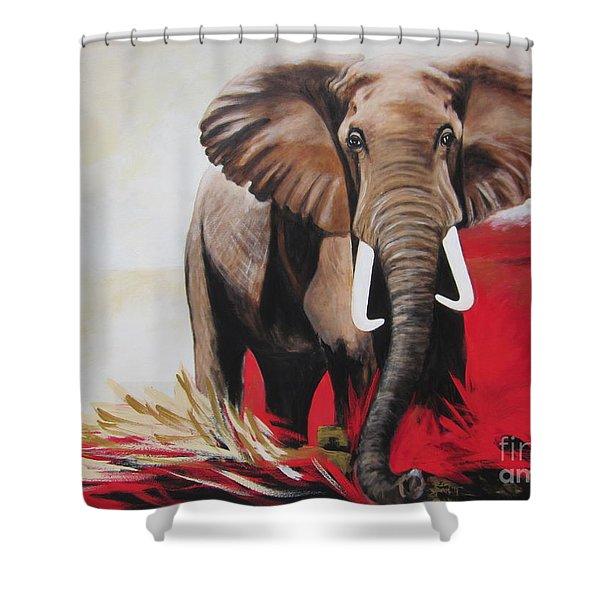 Win Win - The  Bull Elephant  Shower Curtain