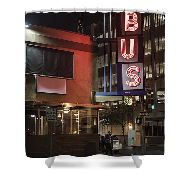 The Bus Stop Shower Curtain