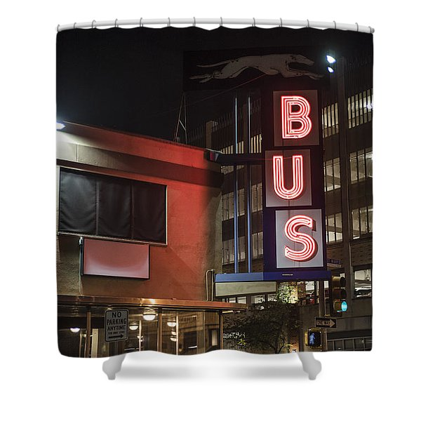 Shower Curtain featuring the photograph The Bus Stop by Break The Silhouette