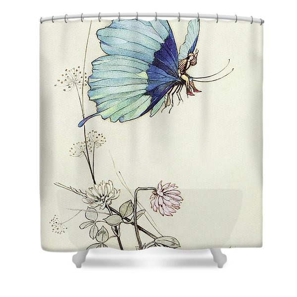 The Butterfly Took Wing, And Mounted Into The Air With Little Tom Thumb On His Back Shower Curtain