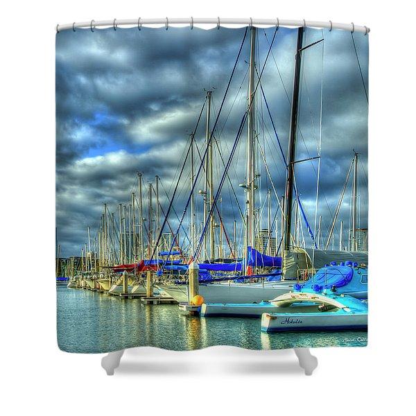 The Calm Waters Line Up Ala Wai Harbor Waikiki Yacht Club Hawaii Collection Art Shower Curtain