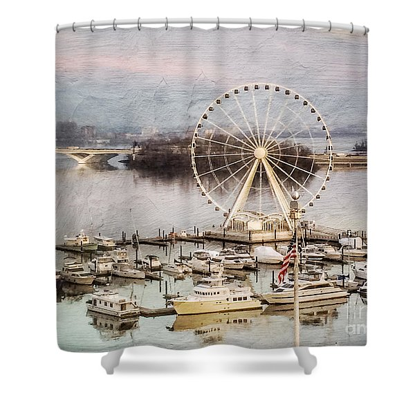 The Capital Wheel At National Harbor Shower Curtain