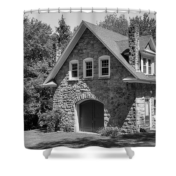 The Carriage House In Black And White Shower Curtain