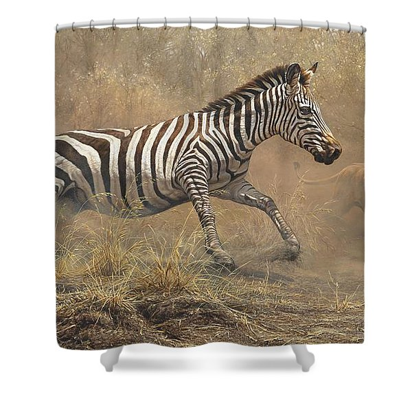Shower Curtain featuring the painting The Chase by Alan M Hunt